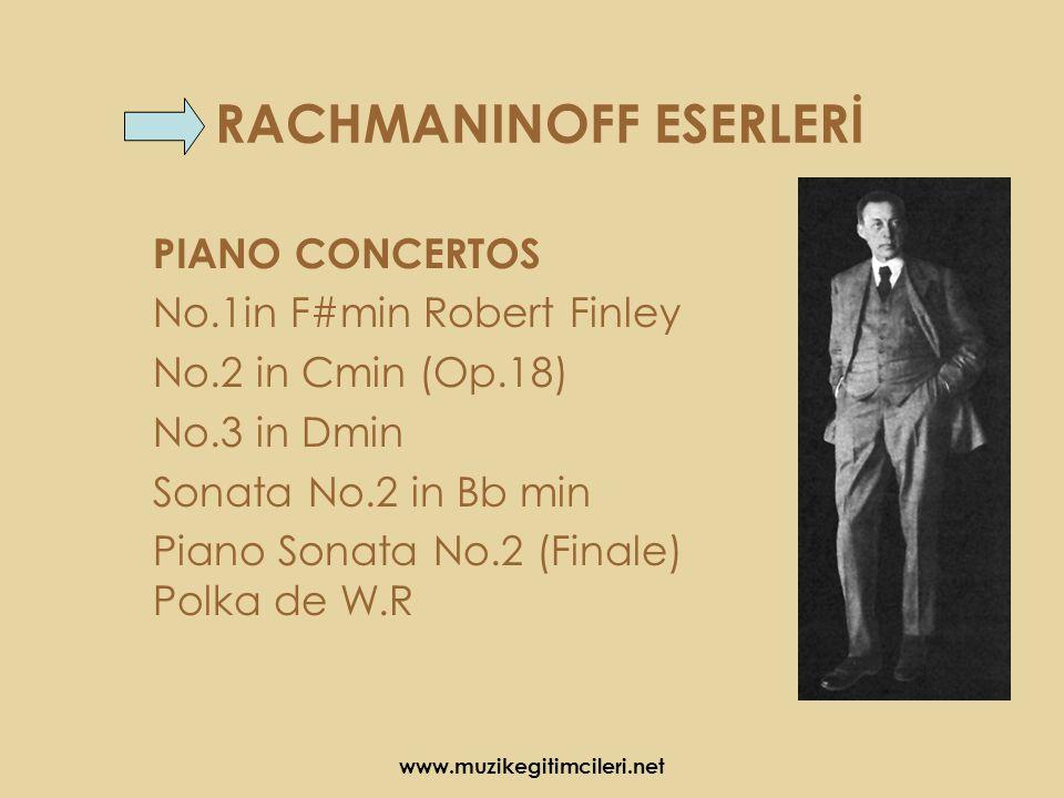 RACHMANINOFF ESERLERİ PIANO CONCERTOS No.1in F#min Robert Finley No.2 in Cmin (Op.18) No.3 in Dmin Sonata No.2 in Bb min Piano Sonata No.2 (Finale) Polka de W.R