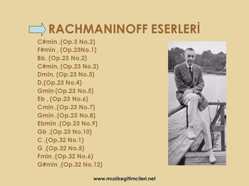 RACHMANINOFF ESERLERİ C#min,(Op.3 No.2) F#min, (Op.23No.1) Bb, (Op.23 No.2) C#min, (Op.23 No.2) Dmin, (Op.23 No.3) D,(Op.23 No.4) Gmin (Op.23 No.5) Eb, (Op.23 No.6) Cmin,(Op.23 No.7) Gmin,(Op.23 No.8) Ebmin,(Op.23 No.9) Gb,(Op.23 No.10) C,(Op.32 No.1) G,(Op.32 No.5) Fmin,(Op.32 No.6) G#min,(Op.32 No.12)