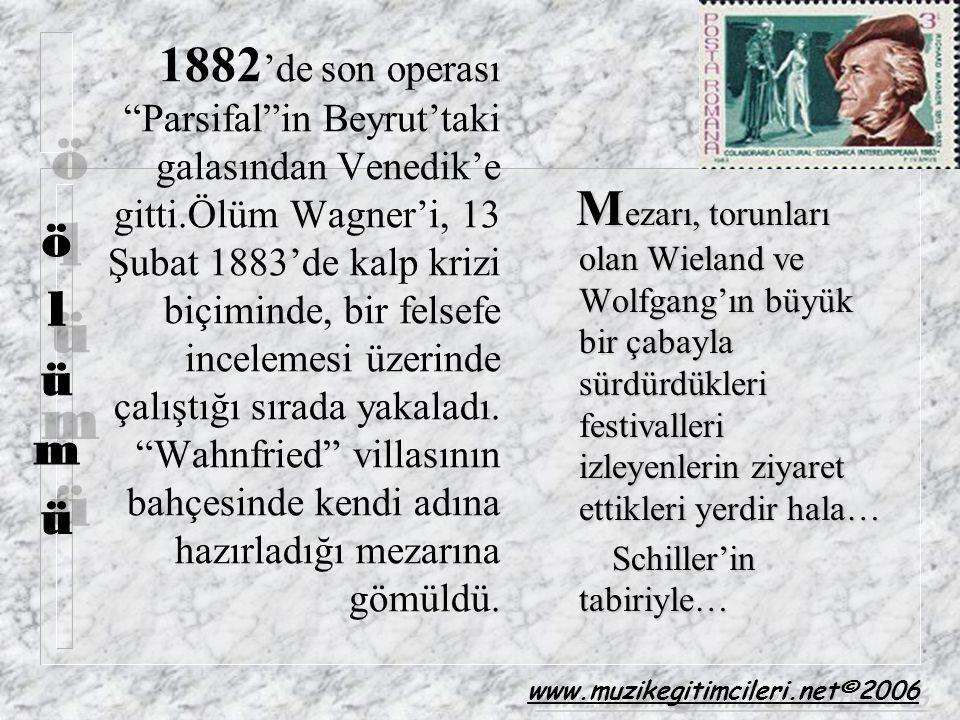 """1882 'de son operası """"Parsifal""""in Beyrut'taki galasından Venedik'e gitti.Ölüm Wagner'i, 13 Şubat 1883'de kalp krizi biçiminde, bir felsefe incelemesi"""