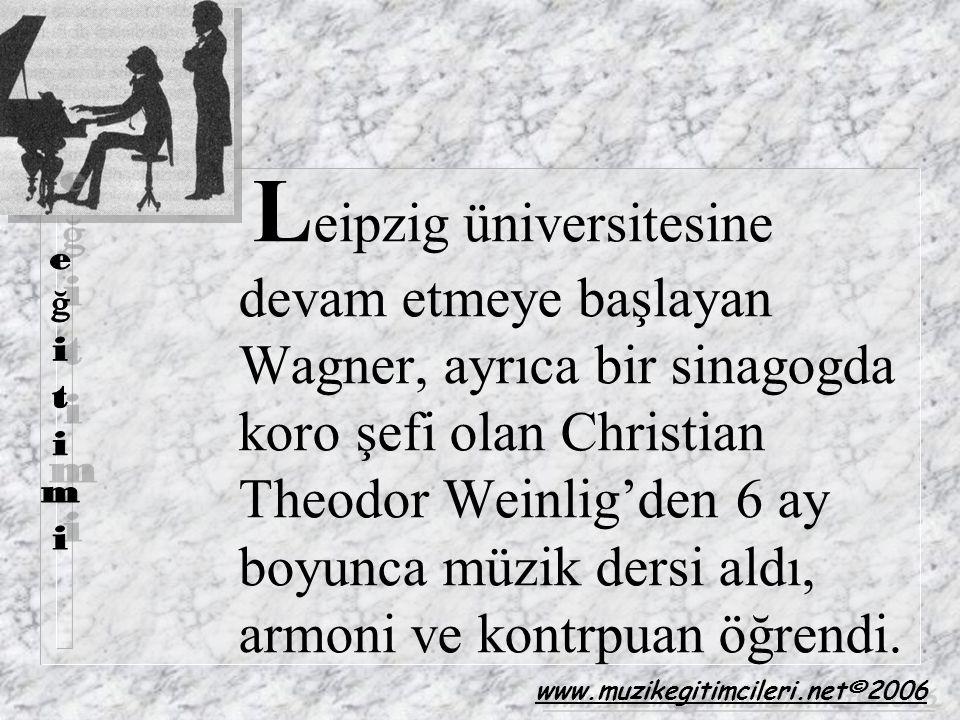 L eipzig üniversitesine devam etmeye başlayan Wagner, ayrıca bir sinagogda koro şefi olan Christian Theodor Weinlig'den 6 ay boyunca müzik dersi aldı,