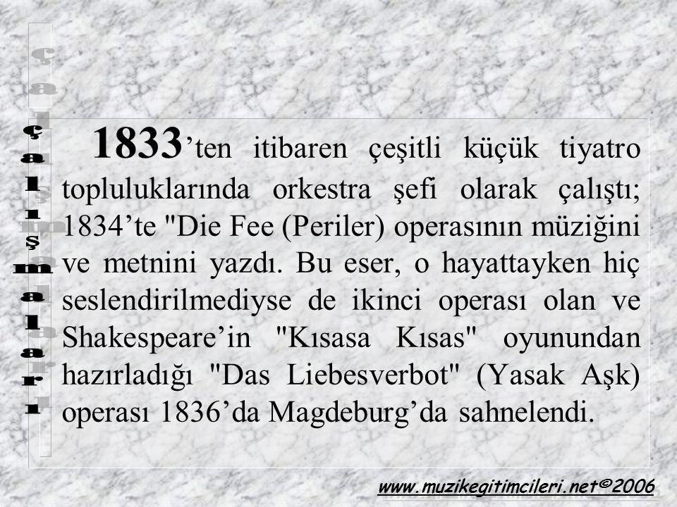 1833 'ten itibaren çeşitli küçük tiyatro topluluklarında orkestra şefi olarak çalıştı; 1834'te