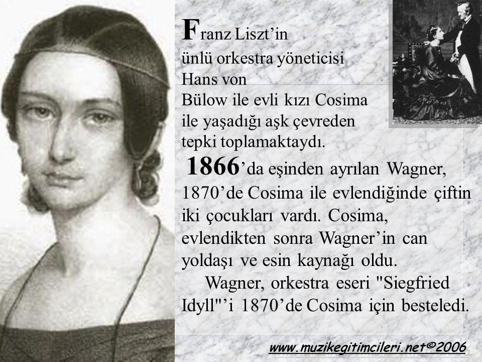 1866 'da eşinden ayrılan Wagner, 1870'de Cosima ile evlendiğinde çiftin iki çocukları vardı. Cosima, evlendikten sonra Wagner'in can yoldaşı ve esin k