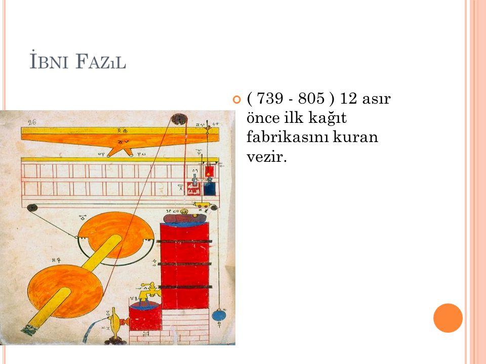 İ BNI F AZıL ( 739 - 805 ) 12 asır önce ilk kağıt fabrikasını kuran vezir.