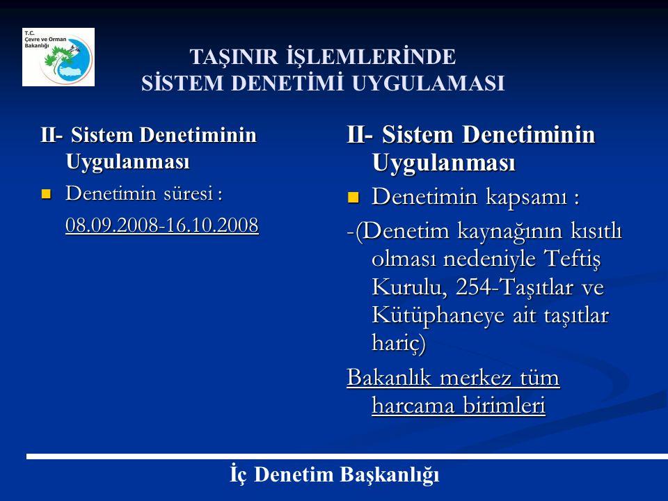 II- Sistem Denetiminin Uygulanması Denetimin süresi : Denetimin süresi :08.09.2008-16.10.2008 II- Sistem Denetiminin Uygulanması Denetimin kapsamı : -