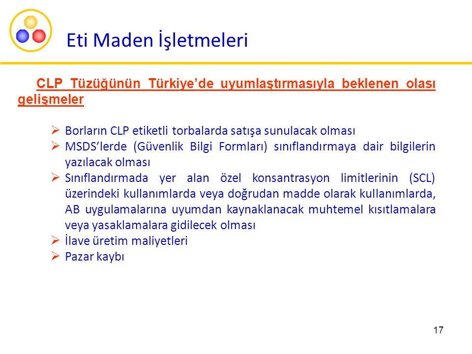 17 CLP Tüzüğünün Türkiye'de uyumlaştırmasıyla beklenen olası gelişmeler  Borların CLP etiketli torbalarda satışa sunulacak olması  MSDS'lerde (Güven