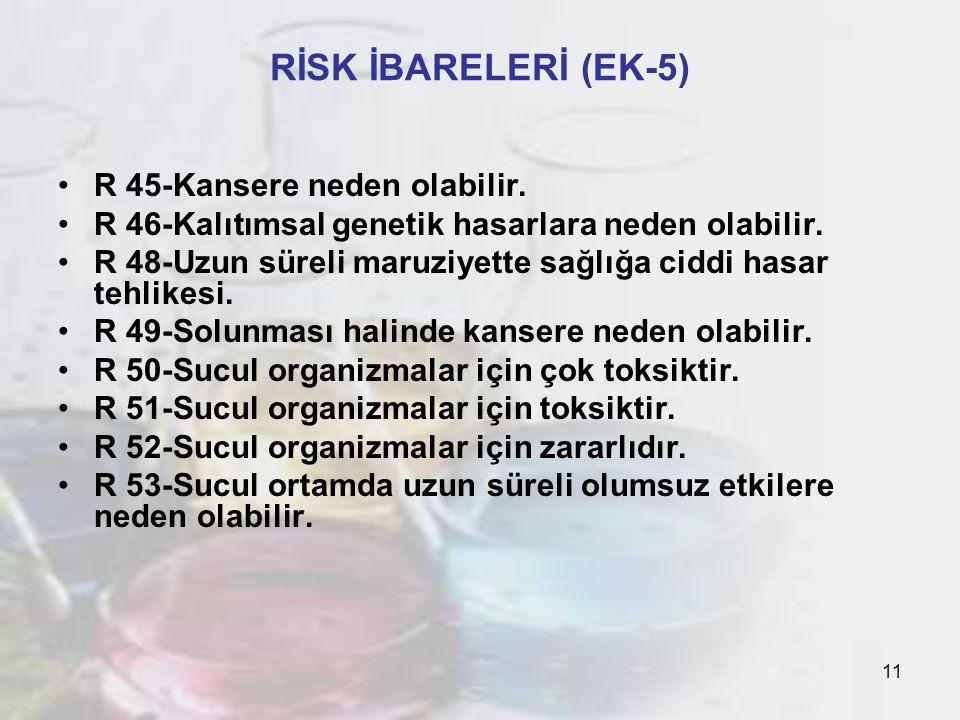 11 RİSK İBARELERİ (EK-5) R 45-Kansere neden olabilir.