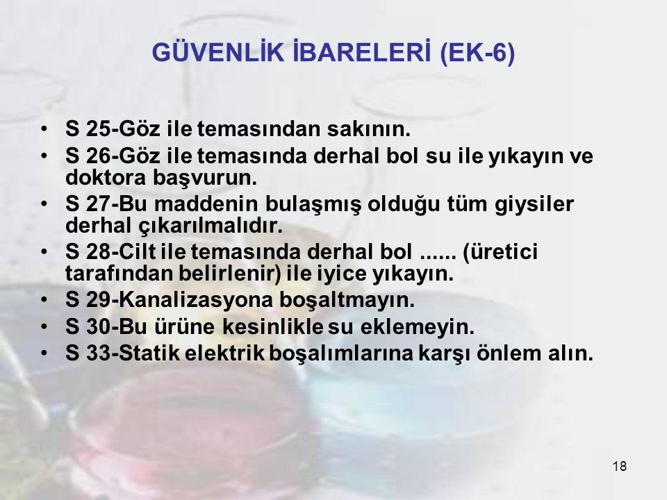 18 GÜVENLİK İBARELERİ (EK-6) S 25-Göz ile temasından sakının.
