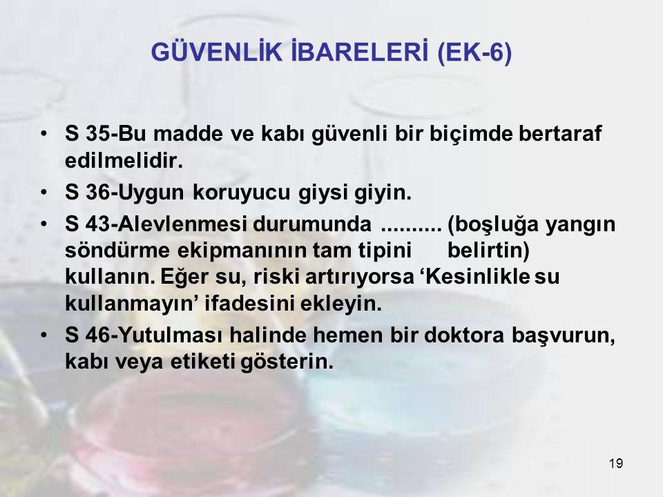 19 GÜVENLİK İBARELERİ (EK-6) S 35-Bu madde ve kabı güvenli bir biçimde bertaraf edilmelidir.