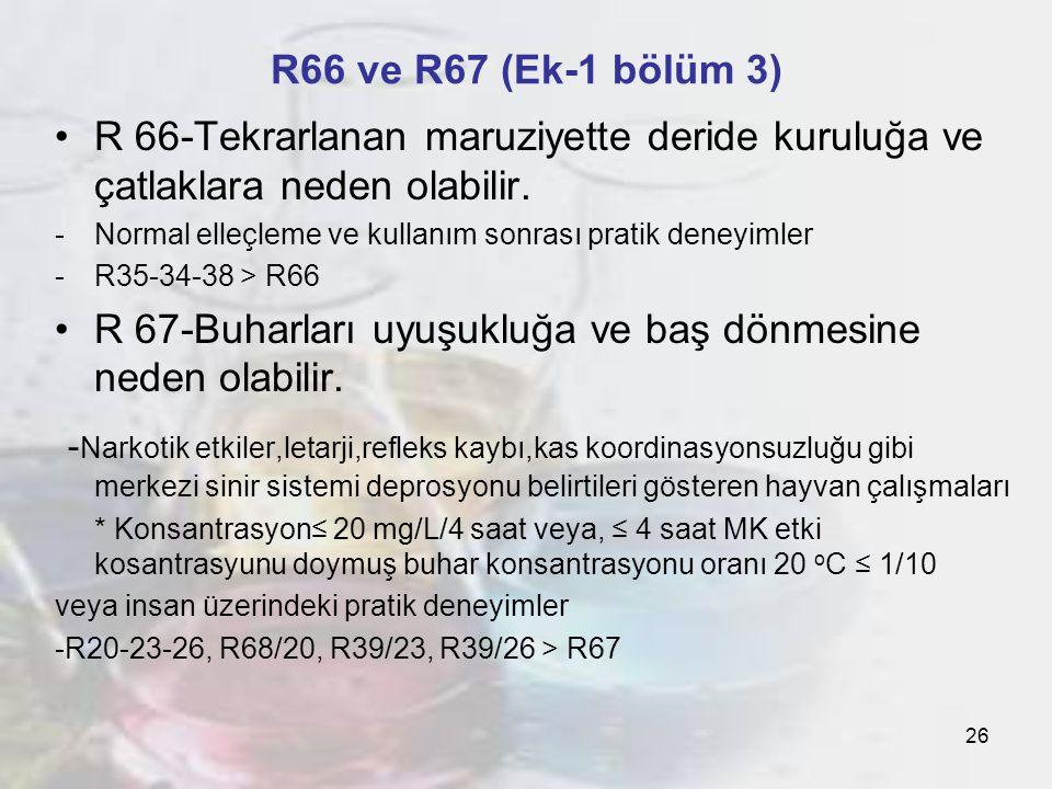 26 R66 ve R67 (Ek-1 bölüm 3) R 66-Tekrarlanan maruziyette deride kuruluğa ve çatlaklara neden olabilir.