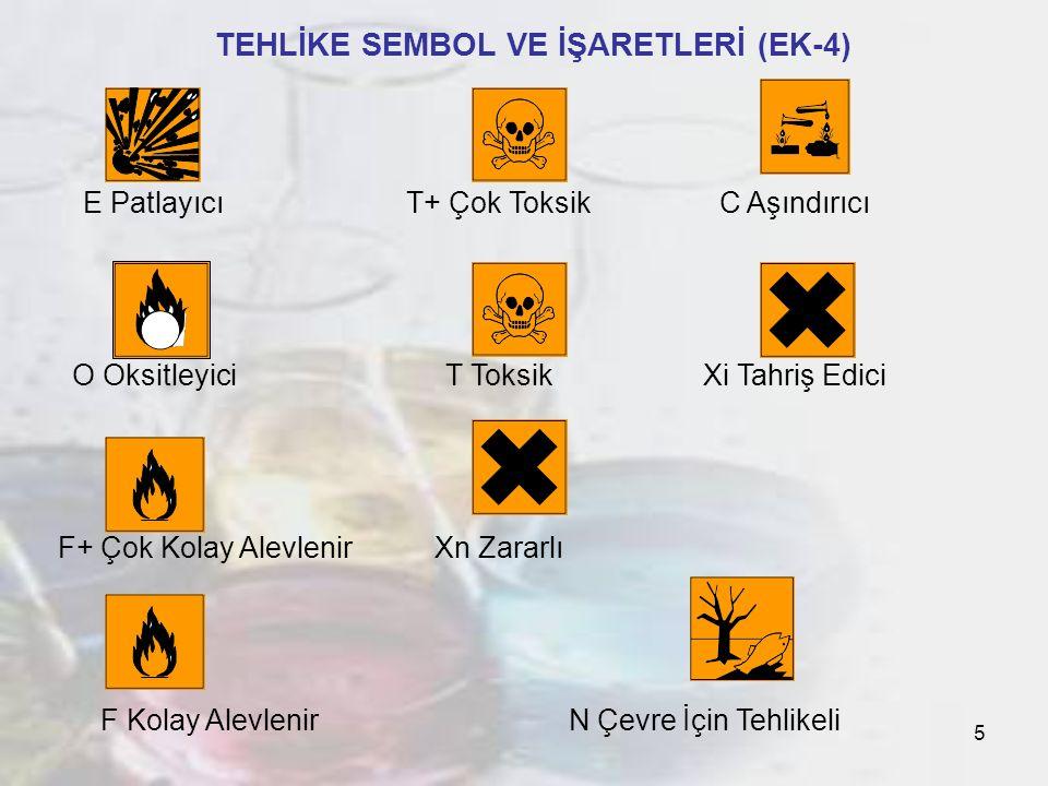 5 TEHLİKE SEMBOL VE İŞARETLERİ (EK-4) E PatlayıcıT+ Çok ToksikC Aşındırıcı O OksitleyiciT ToksikXi Tahriş Edici F+ Çok Kolay AlevlenirXn Zararlı F Kolay Alevlenir N Çevre İçin Tehlikeli