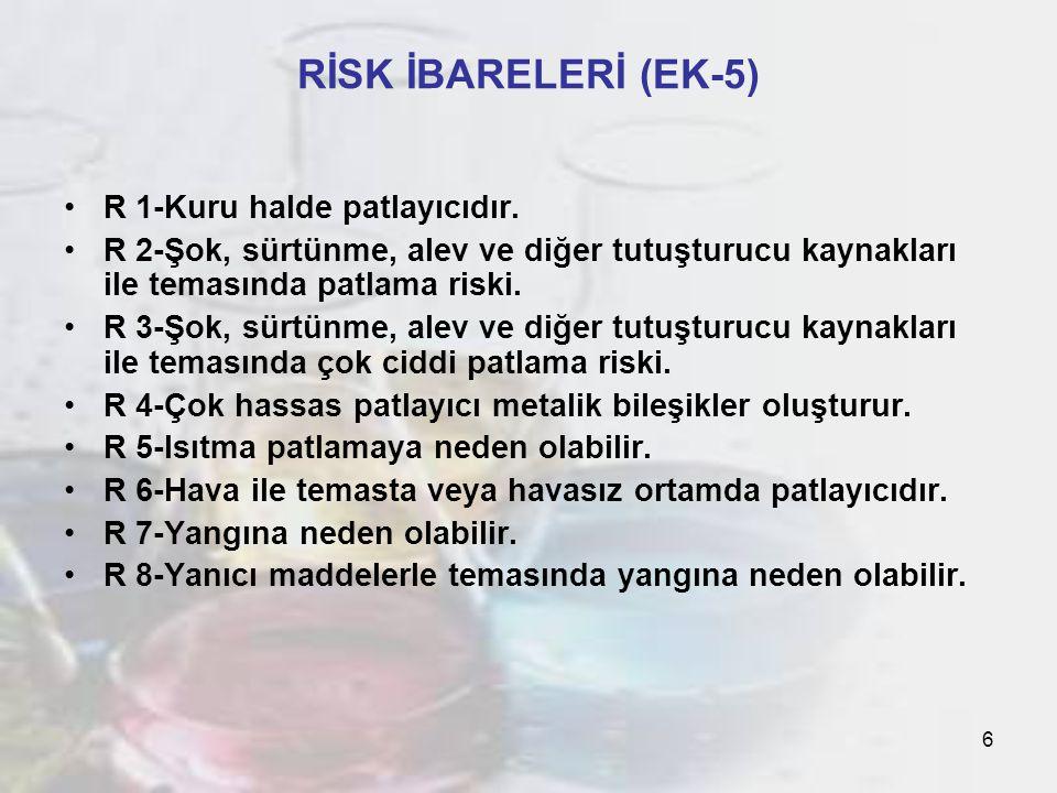 7 RİSK İBARELERİ (EK-5) R 9-Yanıcı maddelerle karıştırıldığında patlayıcıdır.