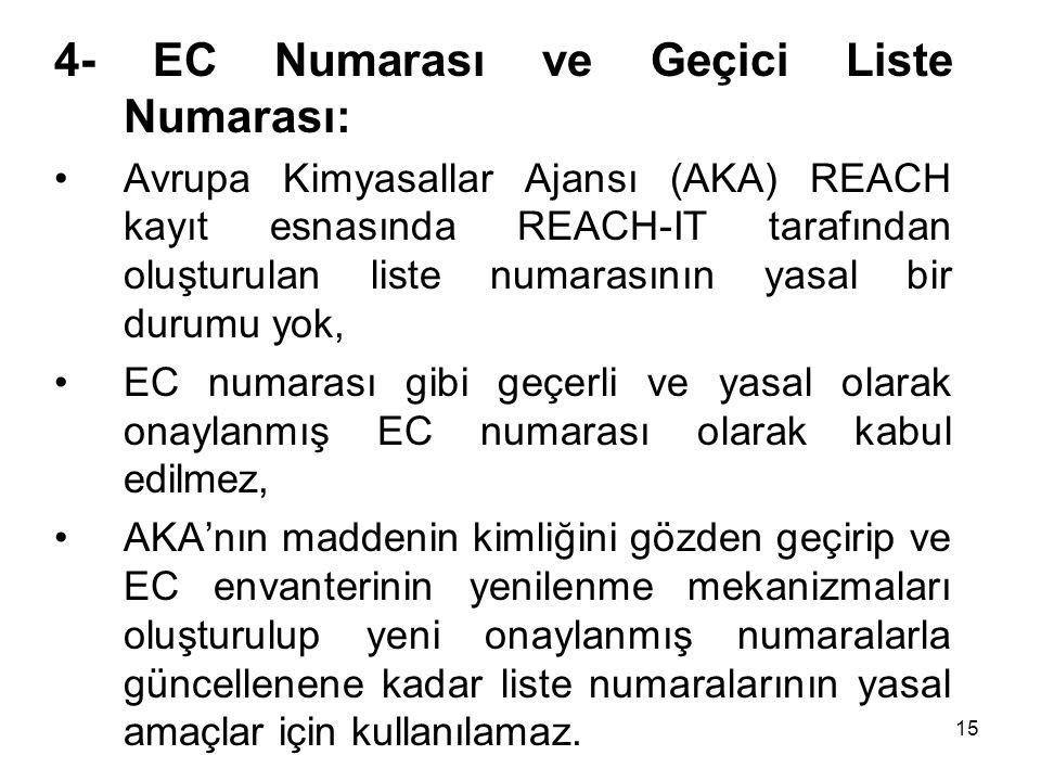4- EC Numarası ve Geçici Liste Numarası: Avrupa Kimyasallar Ajansı (AKA) REACH kayıt esnasında REACH-IT tarafından oluşturulan liste numarasının yasal