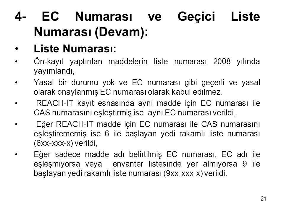 4- EC Numarası ve Geçici Liste Numarası (Devam): Liste Numarası: Ön-kayıt yaptırılan maddelerin liste numarası 2008 yılında yayımlandı, Yasal bir duru