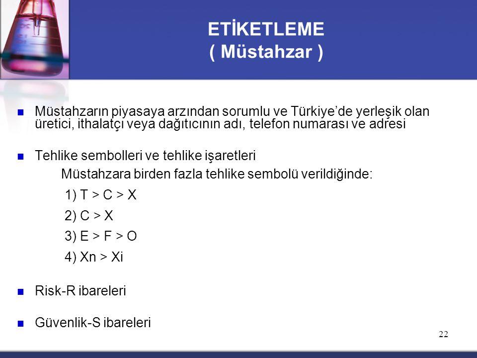 22 Müstahzarın piyasaya arzından sorumlu ve Türkiye'de yerleşik olan üretici, ithalatçı veya dağıtıcının adı, telefon numarası ve adresi Tehlike sembo