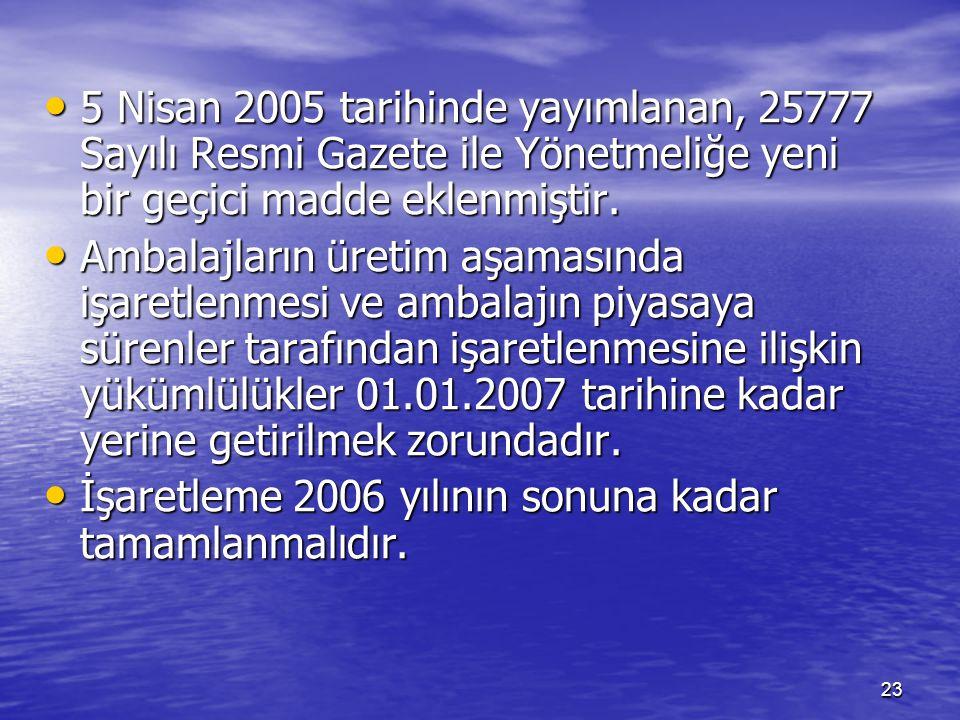 23 5 Nisan 2005 tarihinde yayımlanan, 25777 Sayılı Resmi Gazete ile Yönetmeliğe yeni bir geçici madde eklenmiştir. 5 Nisan 2005 tarihinde yayımlanan,