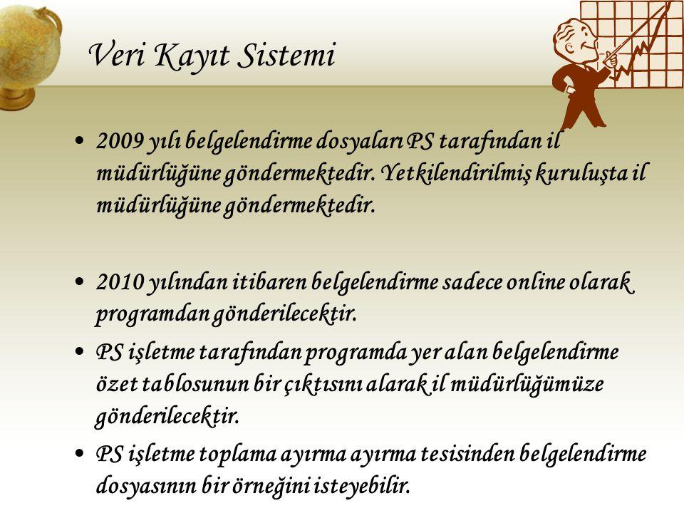 Veri Kayıt Sistemi 2009 yılı belgelendirme dosyaları PS tarafından il müdürlüğüne göndermektedir. Yetkilendirilmiş kuruluşta il müdürlüğüne göndermekt