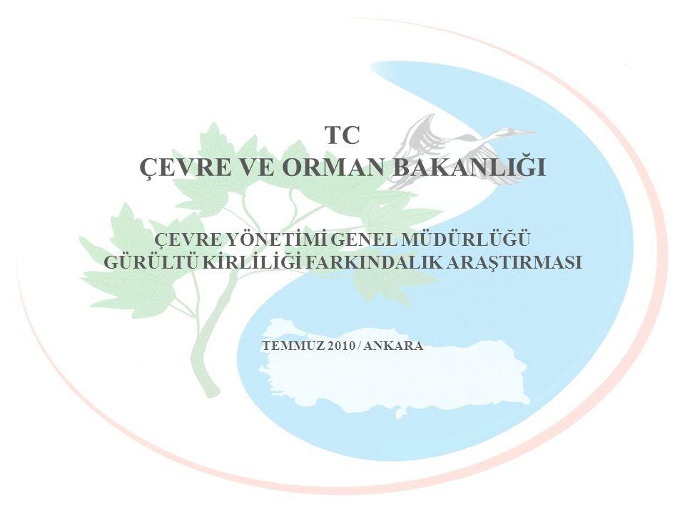 TC ÇEVRE VE ORMAN BAKANLIĞI ÇEVRE YÖNETİMİ GENEL MÜDÜRLÜĞÜ GÜRÜLTÜ KİRLİLİĞİ FARKINDALIK ARAŞTIRMASI TEMMUZ 2010 / ANKARA