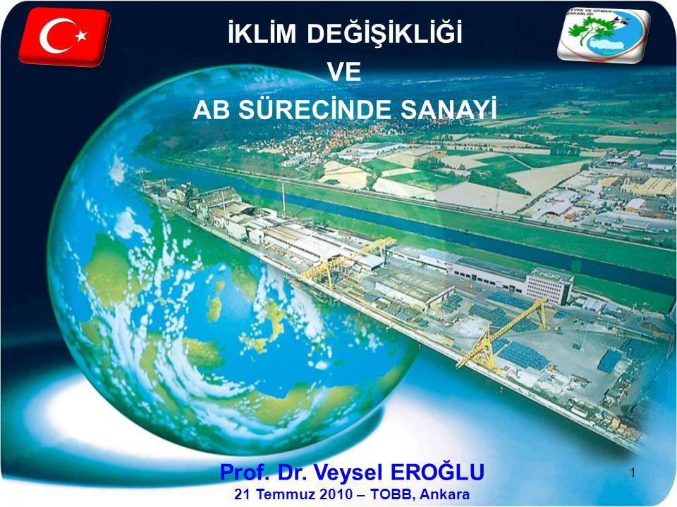 İKLİM DEĞİŞİKLİĞİ VE AB SÜRECİNDE SANAYİ Prof. Dr. Veysel EROĞLU 21 Temmuz 2010 – TOBB, Ankara 1