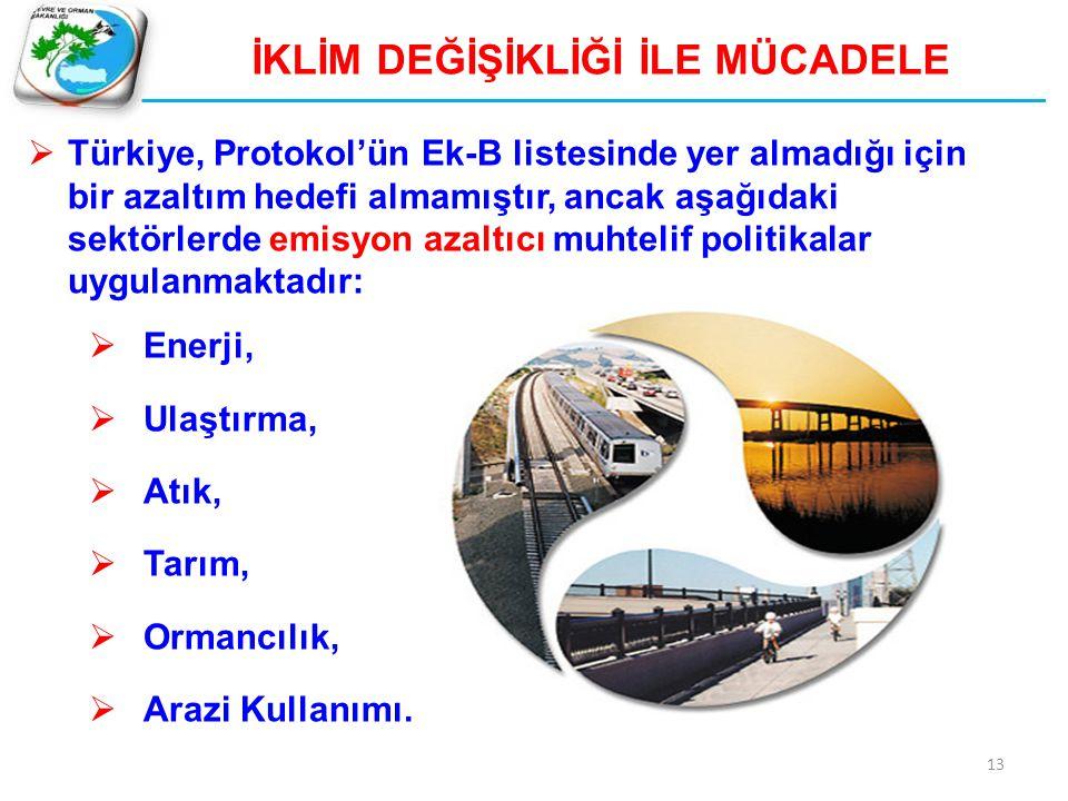 13 İKLİM DEĞİŞİKLİĞİ İLE MÜCADELE  Türkiye, Protokol'ün Ek-B listesinde yer almadığı için bir azaltım hedefi almamıştır, ancak aşağıdaki sektörlerde