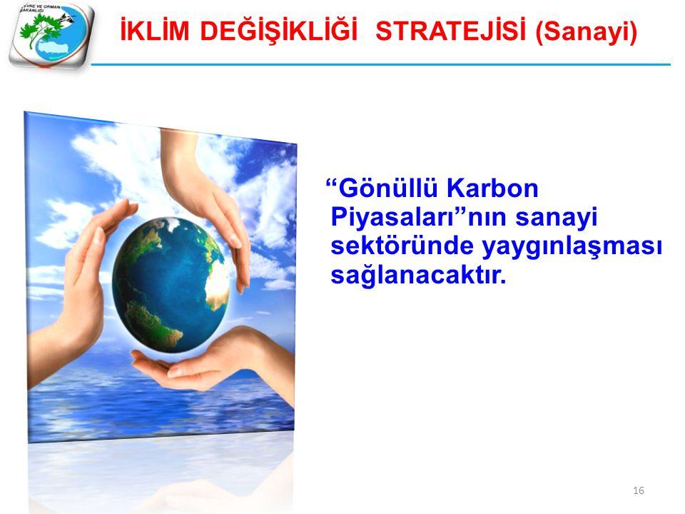 """İKLİM DEĞİŞİKLİĞİ STRATEJİSİ (Sanayi) """"Gönüllü Karbon Piyasaları""""nın sanayi sektöründe yaygınlaşması sağlanacaktır. 16"""