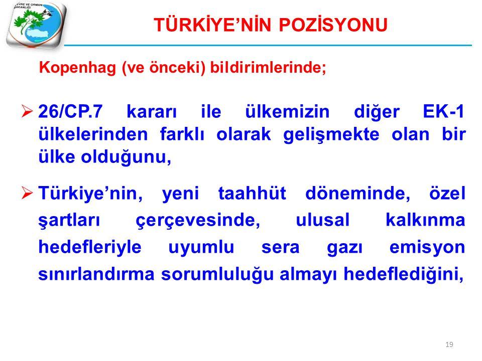 19 TÜRKİYE'NİN POZİSYONU  26/CP.7 kararı ile ülkemizin diğer EK-1 ülkelerinden farklı olarak gelişmekte olan bir ülke olduğunu,  Türkiye'nin, yeni t
