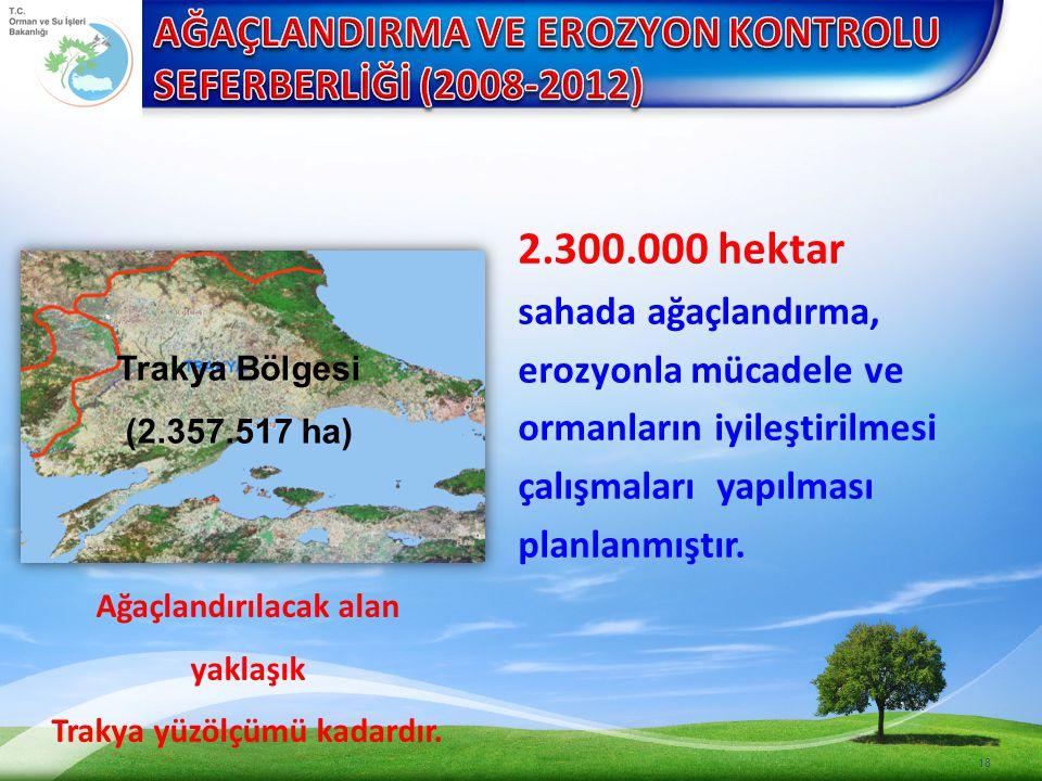 18 2.300.000 hektar sahada ağaçlandırma, erozyonla mücadele ve ormanların iyileştirilmesi çalışmaları yapılması planlanmıştır.