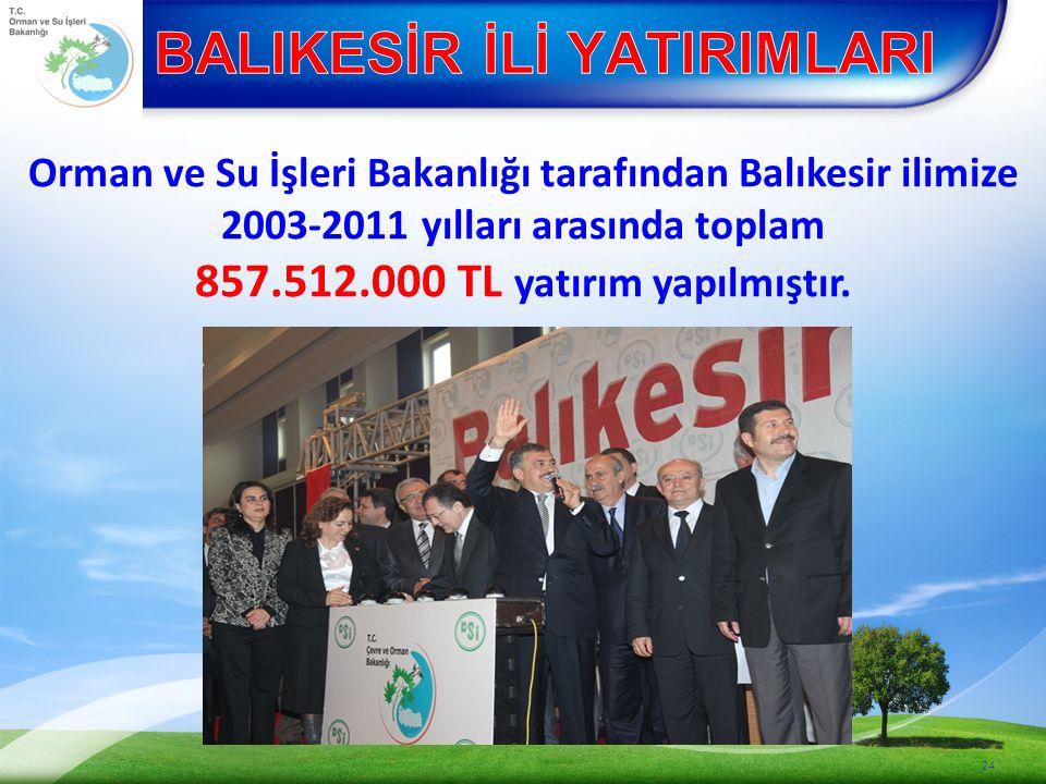 Orman ve Su İşleri Bakanlığı tarafından Balıkesir ilimize 2003-2011 yılları arasında toplam 857.512.000 TL yatırım yapılmıştır.