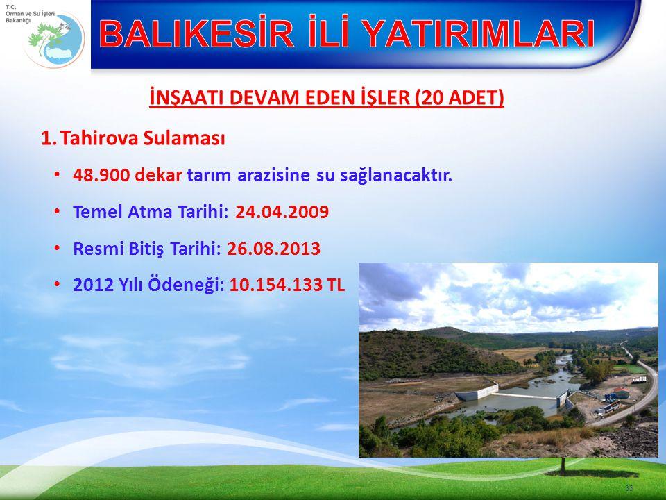 İNŞAATI DEVAM EDEN İŞLER (20 ADET) 1.Tahirova Sulaması 48.900 dekar tarım arazisine su sağlanacaktır.