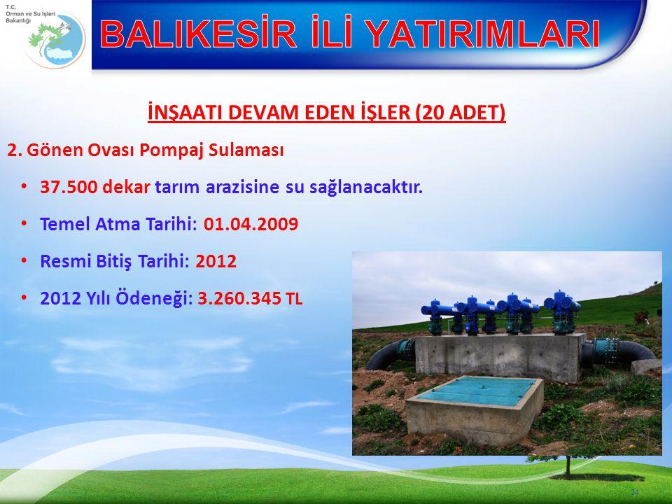 İNŞAATI DEVAM EDEN İŞLER (20 ADET) 2.Gönen Ovası Pompaj Sulaması 37.500 dekar tarım arazisine su sağlanacaktır.
