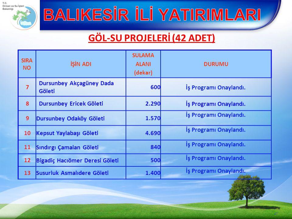 47 SIRA NO İŞİN ADI SULAMA ALANI (dekar) DURUMU 7 Dursunbey Akçagüney Dada Göleti 600 İş Programı Onaylandı.