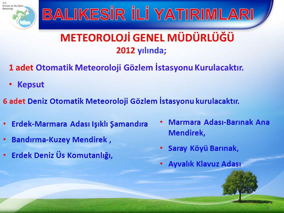 METEOROLOJİ GENEL MÜDÜRLÜĞÜ 60 2012 yılında; 1 adet Otomatik Meteoroloji Gözlem İstasyonu Kurulacaktır.