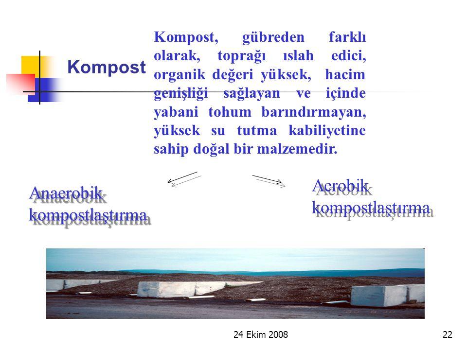 24 Ekim 200822 Kompost Kompost, gübreden farklı olarak, toprağı ıslah edici, organik değeri yüksek, hacim genişliği sağlayan ve içinde yabani tohum ba