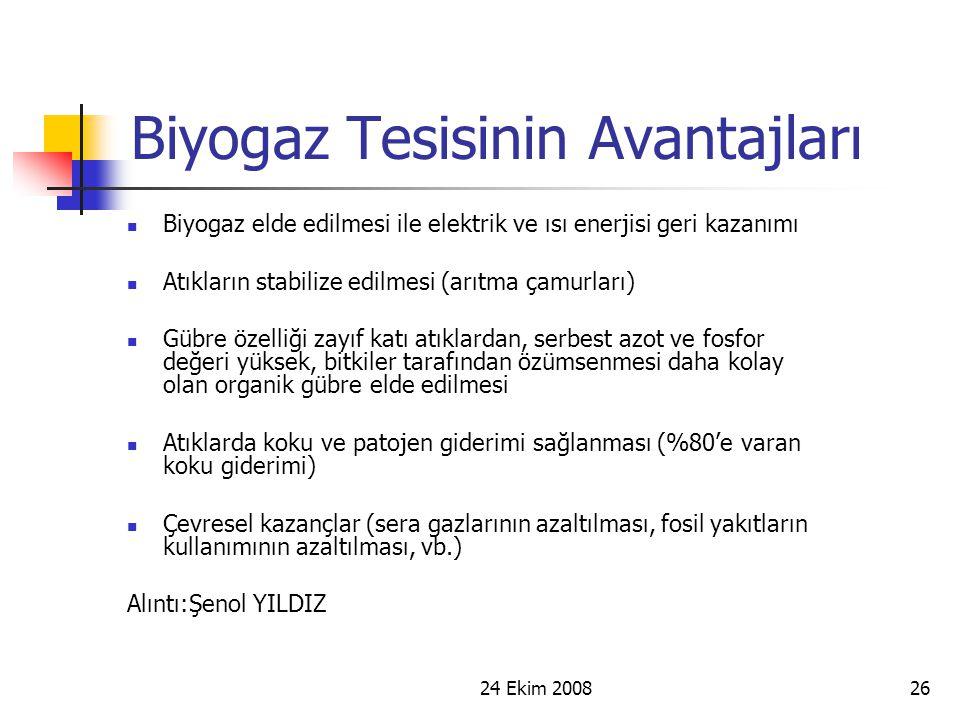 24 Ekim 200826 Biyogaz Tesisinin Avantajları Biyogaz elde edilmesi ile elektrik ve ısı enerjisi geri kazanımı Atıkların stabilize edilmesi (arıtma çam