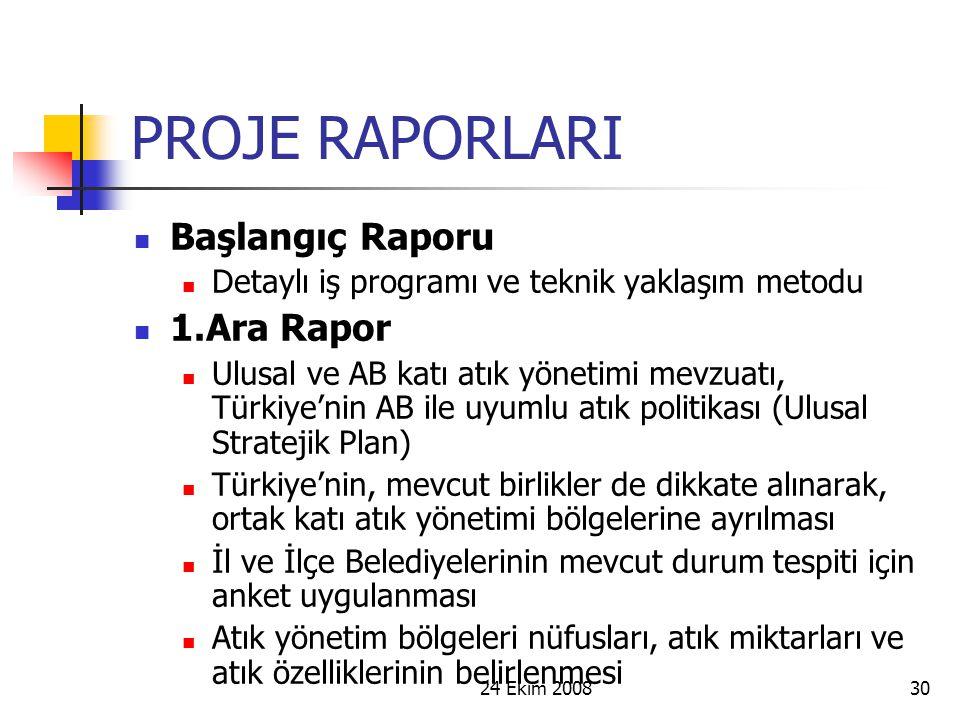 24 Ekim 200830 PROJE RAPORLARI Başlangıç Raporu Detaylı iş programı ve teknik yaklaşım metodu 1.Ara Rapor Ulusal ve AB katı atık yönetimi mevzuatı, Tü
