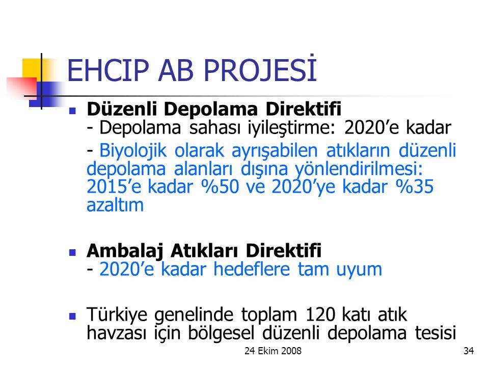 24 Ekim 200834 EHCIP AB PROJESİ Düzenli Depolama Direktifi - Depolama sahası iyileştirme: 2020'e kadar - Biyolojik olarak ayrışabilen atıkların düzenl