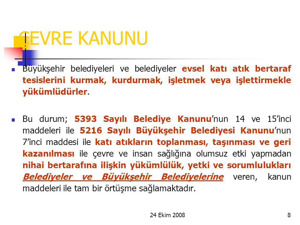 24 Ekim 20088 ÇEVRE KANUNU Büyükşehir belediyeleri ve belediyeler evsel katı atık bertaraf tesislerini kurmak, kurdurmak, işletmek veya işlettirmekle