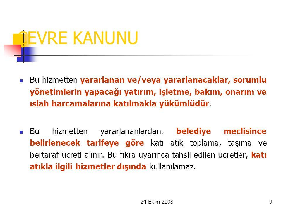 24 Ekim 200830 PROJE RAPORLARI Başlangıç Raporu Detaylı iş programı ve teknik yaklaşım metodu 1.Ara Rapor Ulusal ve AB katı atık yönetimi mevzuatı, Türkiye'nin AB ile uyumlu atık politikası (Ulusal Stratejik Plan) Türkiye'nin, mevcut birlikler de dikkate alınarak, ortak katı atık yönetimi bölgelerine ayrılması İl ve İlçe Belediyelerinin mevcut durum tespiti için anket uygulanması Atık yönetim bölgeleri nüfusları, atık miktarları ve atık özelliklerinin belirlenmesi