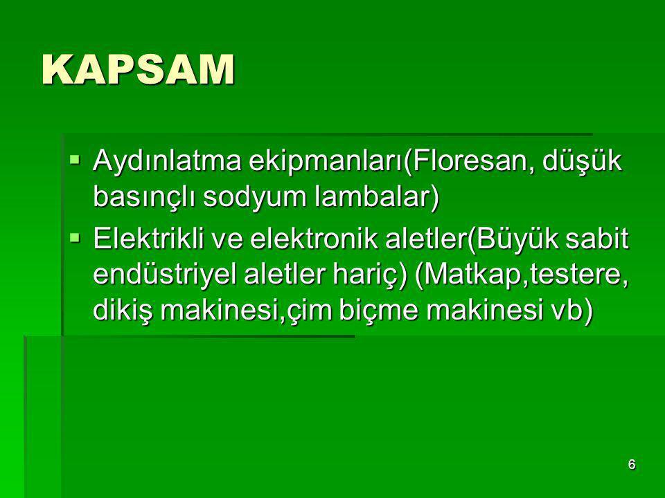 7 KAPSAM  Oyuncaklar, eğlence ve spor aletleri  Otomatlar (sıcak soğuk içecek otomatları vb) Yönetmeliğin EK 1A ve 1B'sinde bu liste daha detaylı olarak verilmiştir.