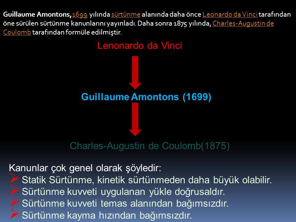 Guillaume Amontons,1699 yılında sürtünme alanında daha önce Leonardo da Vinci tarafından öne sürülen sürtünme kanunlarını yayınladı. Daha sonra 1875 y