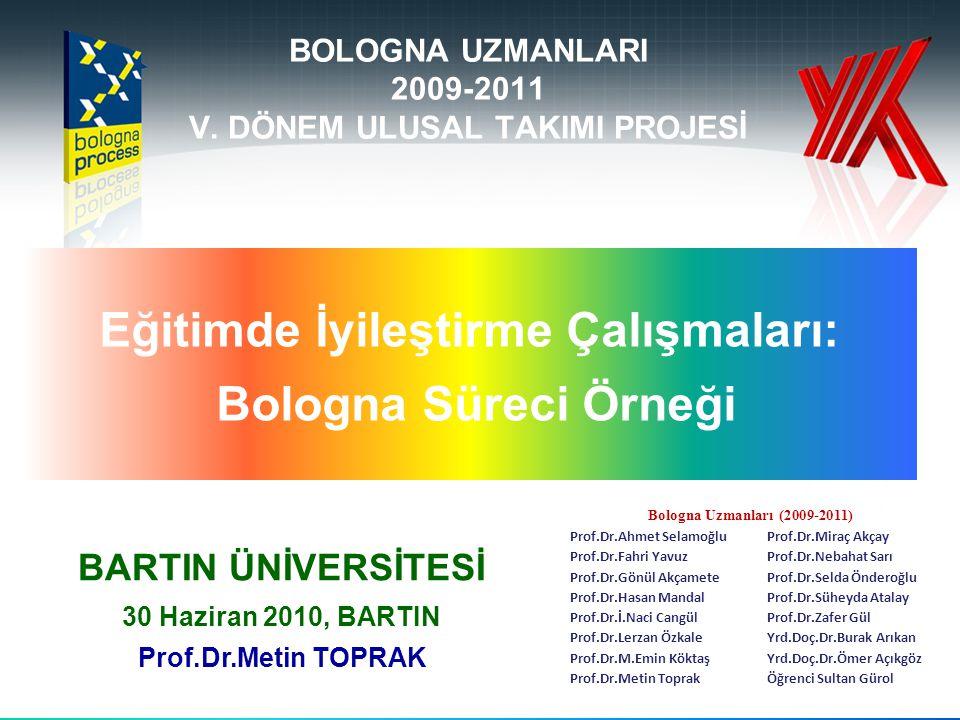 BOLOGNA UZMANLARI 2009-2011 V. DÖNEM ULUSAL TAKIMI PROJESİ Eğitimde İyileştirme Çalışmaları: Bologna Süreci Örneği BARTIN ÜNİVERSİTESİ 30 Haziran 2010