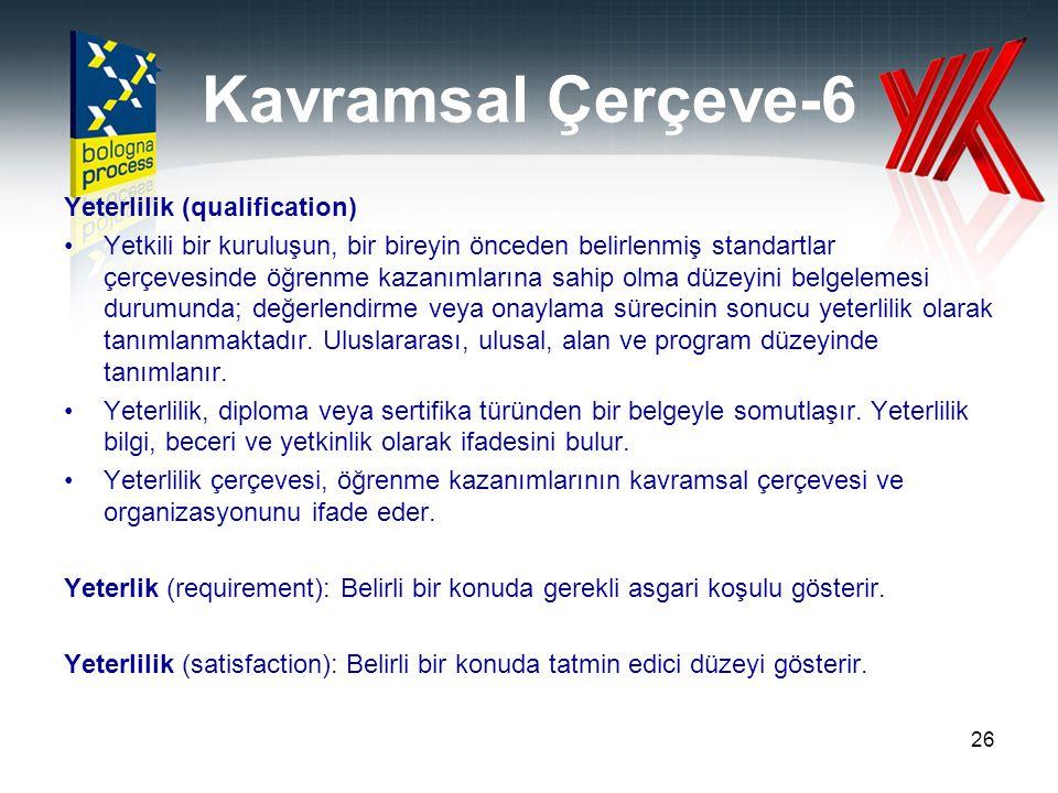 Kavramsal Çerçeve-6 Yeterlilik (qualification) Yetkili bir kuruluşun, bir bireyin önceden belirlenmiş standartlar çerçevesinde öğrenme kazanımlarına s