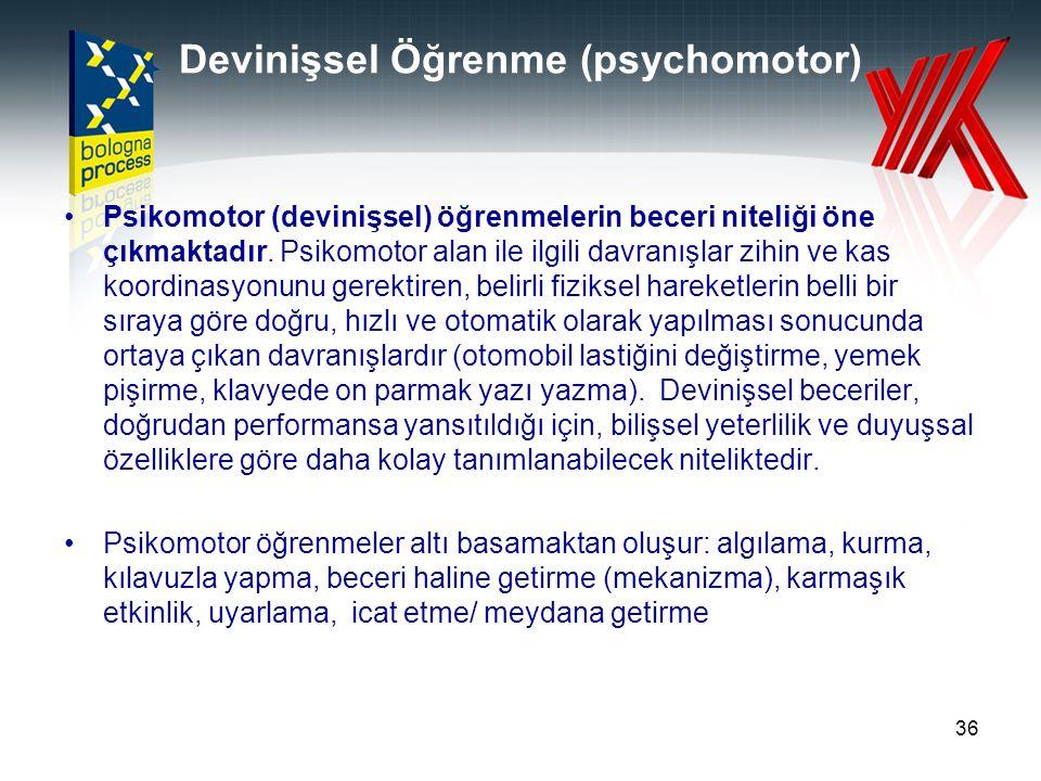 Devinişsel Öğrenme (psychomotor) Psikomotor (devinişsel) öğrenmelerin beceri niteliği öne çıkmaktadır. Psikomotor alan ile ilgili davranışlar zihin ve