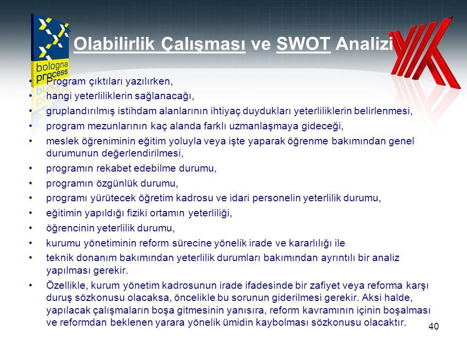Olabilirlik Çalışması ve SWOT Analizi Program çıktıları yazılırken, hangi yeterliliklerin sağlanacağı, gruplandırılmış istihdam alanlarının ihtiyaç du