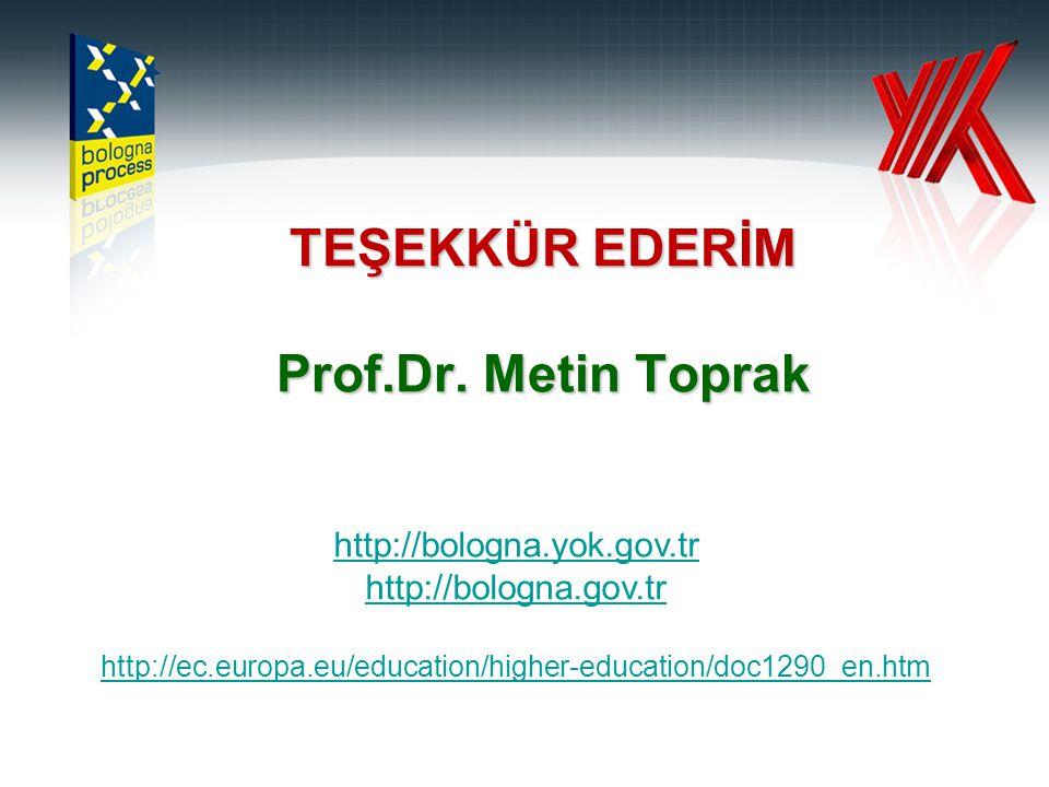 TEŞEKKÜR EDERİM Prof.Dr. Metin Toprak http://bologna.yok.gov.tr http://bologna.gov.tr http://ec.europa.eu/education/higher-education/doc1290_en.htm