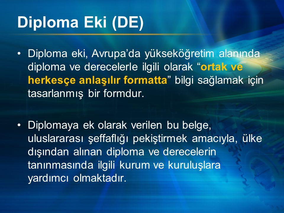 Diploma Eki (DE) Diploma eki, Avrupa'da yükseköğretim alanında diploma ve derecelerle ilgili olarak ortak ve herkesçe anlaşılır formatta bilgi sağlamak için tasarlanmış bir formdur.