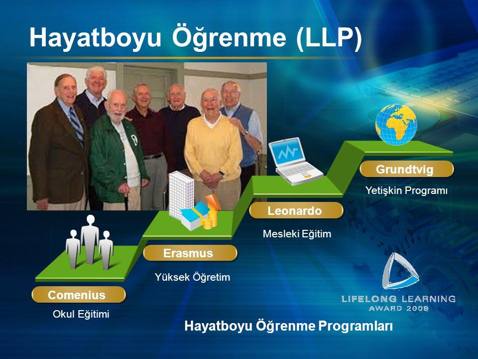 Hayatboyu Öğrenme (LLP) Comenius Hayatboyu Öğrenme Programları Okul Eğitimi Yüksek Öğretim Mesleki Eğitim Yetişkin Programı Erasmus Leonardo Grundtvig