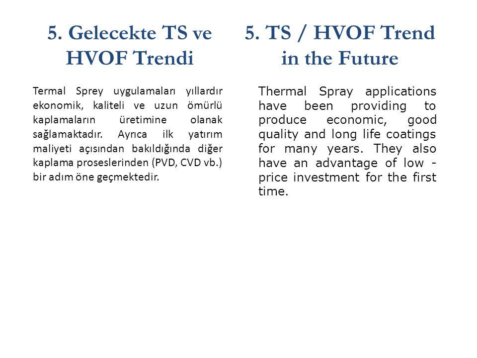 5. Gelecekte TS ve HVOF Trendi 5. TS / HVOF Trend in the Future Termal Sprey uygulamaları yıllardır ekonomik, kaliteli ve uzun ömürlü kaplamaların üre