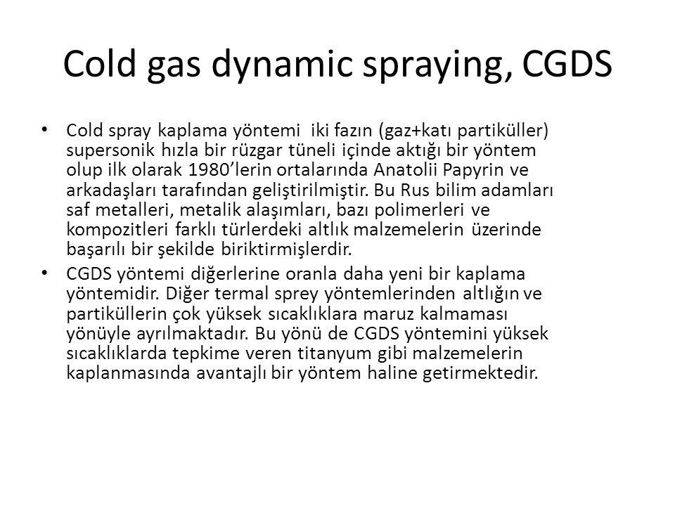 Cold gas dynamic spraying, CGDS Cold spray kaplama yöntemi iki fazın (gaz+katı partiküller) supersonik hızla bir rüzgar tüneli içinde aktığı bir yöntem olup ilk olarak 1980'lerin ortalarında Anatolii Papyrin ve arkadaşları tarafından geliştirilmiştir.