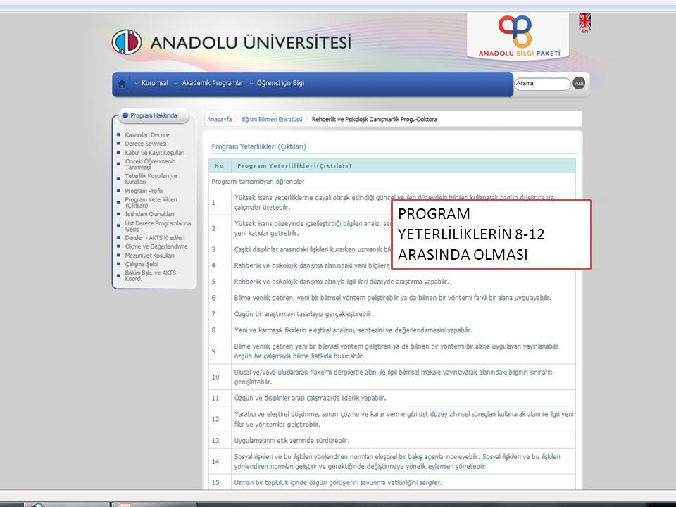 PROGRAM YETERLİLİKLERİN 8-12 ARASINDA OLMASI