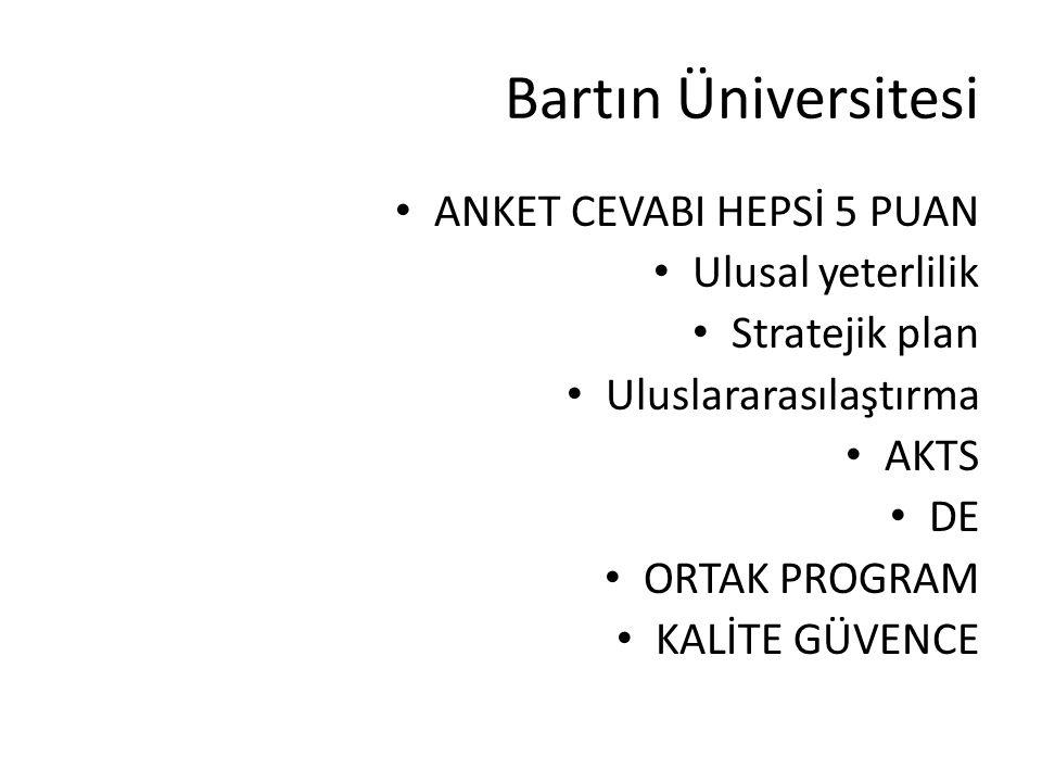Bartın Üniversitesi ANKET CEVABI HEPSİ 5 PUAN Ulusal yeterlilik Stratejik plan Uluslararasılaştırma AKTS DE ORTAK PROGRAM KALİTE GÜVENCE
